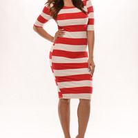 Elbow Sleeve Striped Midi Dress - Red