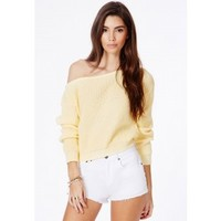 Missguided - Erisha Lemon Off Shoulder Cropped Jumper