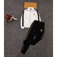 LV Louis Vuitton Fashion Women High Collar Long Sleeve Top Pants Trousers Set Two-Piece