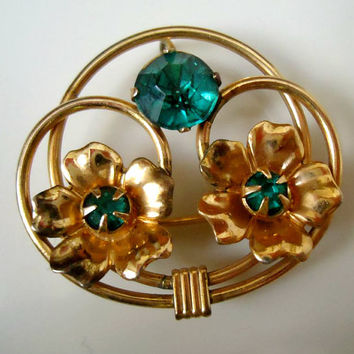 12k Gold Filled GF Antique Teal Rhinestone Flower Pin Brooch Pendant