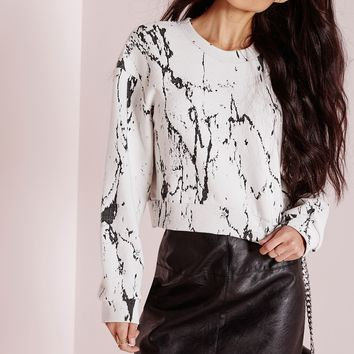 Missguided - Marble Effect Sweater Cream
