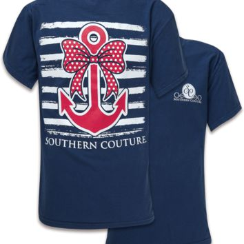Southern Couture Preppy Nautical Bow Anchor Comfort Colors T-Shirt