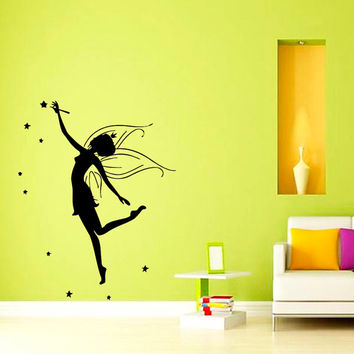Wall Vinyl Sticker Decal Fairy Girl with Stars Art Design Room Nice Picture Decor Hall Wall Chu893