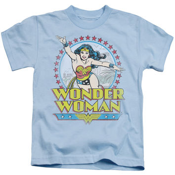 Wonder Woman Star of Paradise Island Light Blue Kids T-Shirt