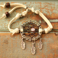 Bohemian Chic Stackable Bracelet. White Deerskin Leather. Dream-Boy-Catcher.  Boho Gypsy Dreamcatcher Bracelet