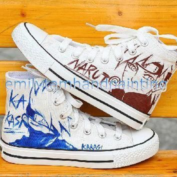 custom converse hand paint kakashi and uzumaki sketch on converse sneakers