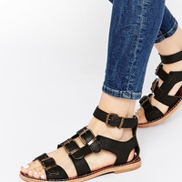 H by Hudson Newton Black Strap Gladiator Flat Sandals
