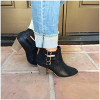 Cage Buckle Ankle Booties - BLACK