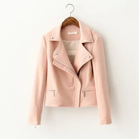 Pink Long-Sleeve Collar Side-Zipper Jacket