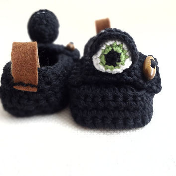 Black Monster Baby Moccasins by beliz82 on Etsy