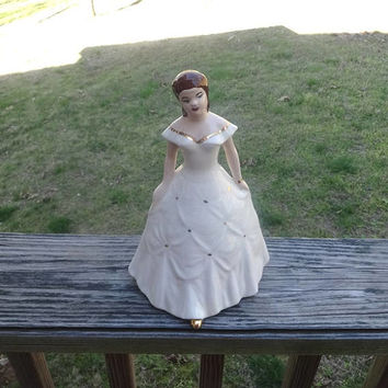 1950s Kleine Co. Porcelain Figurine in Victorian Dress with Gold Trim, 9 5/8 In. Tall, White Dress with Swags, Vintage Ceramics, Figurines