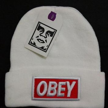 Obey Women Men Embroidery Beanies Knit Wool Hat Cap-2
