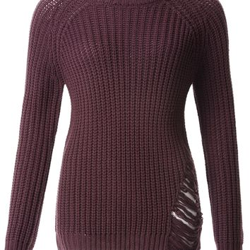 LE3NO Womens Oversized Shredded Long Sleeve Ribbed Knit Tunic Sweater