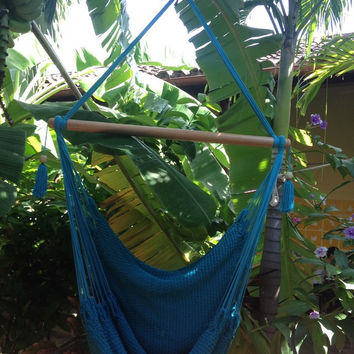 Mission Hammocks Hanging Hammock Chair Organic Cotton - Light Blue
