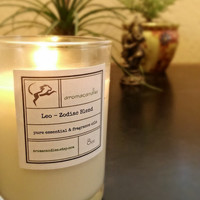 Leo Zodiac Soy Candle - Created for the proud, faithful and dramatic personality. Gift idea, essential oil , truly handmade