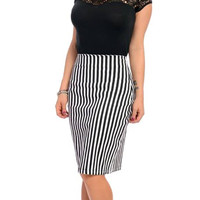 Steady Clothing Black & White Striped Office Lady Rockabilly Pencil Skirt
