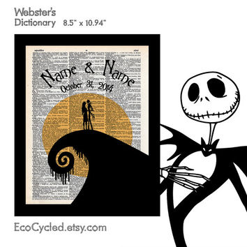 Nightmare Before Christmas 2 with Names & Date on Vintage Upcycled Dictionary Art Print Book Art Print Anniversary Wedding Jack Sally Custom