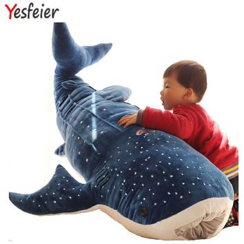 50/100cm New Style Blue Shark Plush Toys Big Fish Cloth doll Whale stuffed plush animals doll Children Birthday Gift