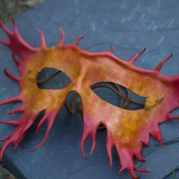 Yellow Orange and Red Handmade Leather Mask by kennosborne on Etsy
