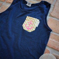 Comfort Colors Monogrammed Anchor Pocket Tank - Navy