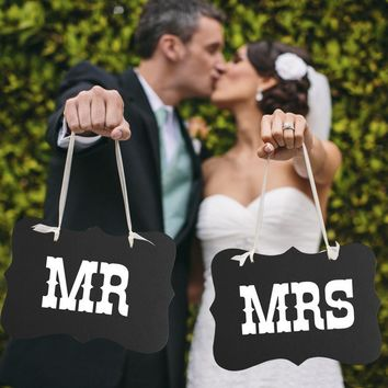 Couple Chair Mr & Mrs Signs Wedding Party Photo Props Banner Decoration 27x17cm