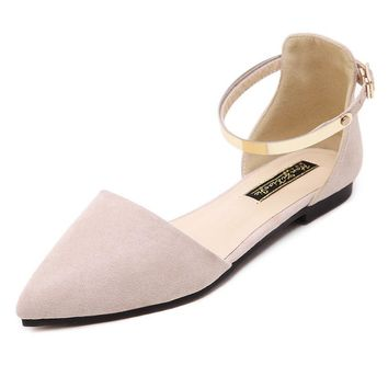 Big Size Pointed Toe Pure Color Metal Flat Slip On Buckle Shoes