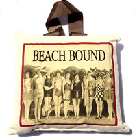 Beach Bound Retro Canvas Throw / Accent Pillow with Ribbon 12-in x 11-in