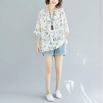Womens Loose Floral Top