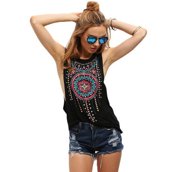Round Neck Sleeveless Vintage Tribal Print Tank Top