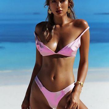 Pure color two piece bikini pink straps swimsuit