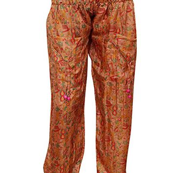 Womens Boho Yoga Pant Two Pockets Orange Printed Recycled Sari Harem Trouser