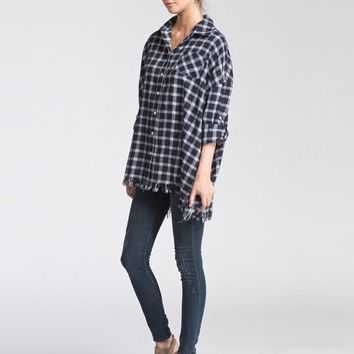 Fringe Flannel Top -  Navy and White