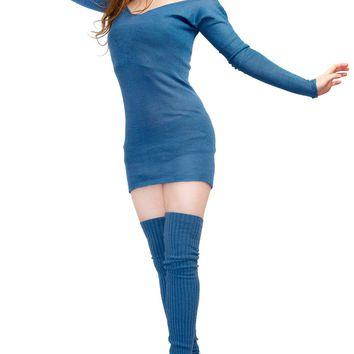 Sheer Off Shoulder Mini Sweater Dress & Thigh High Leg Warmers