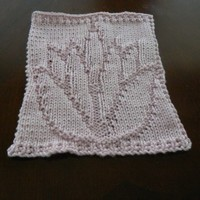 Hand Knit Pretty Pale Pink Lotus Flower Dish Cloth or Wash cloth