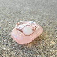 Ring, Rose Quartz ring, Rose Quartz jewelry,wire ring, wire wrapped ring, gemstone ring,boho ring, pink ring ,healing stone,healing crystals