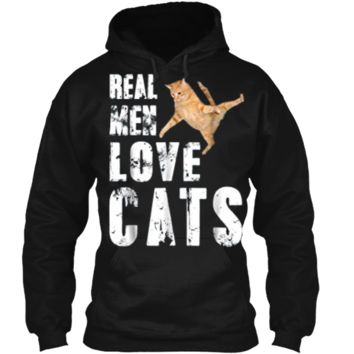 Real Men Love Cats Funny Cat Love  Pullover Hoodie 8 oz