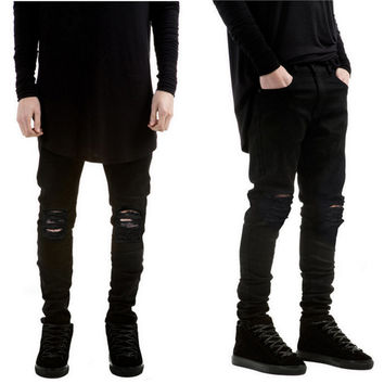 New Black Ripped Jeans Men With Holes Denim Super Skinny Famous Designer Slim Fit Jean Pants Scratched Biker Jeans