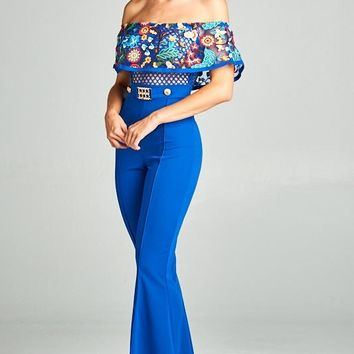 Off The Shoulder Floral Lace Jumpsuit
