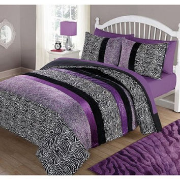 your zone purple pieced animal comforter set, twin