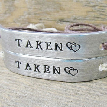 TAKEN Set of 2 Couples Friendship Bracelet Custom Hand Stamped Name Tie On Hemp Cord His and Hers