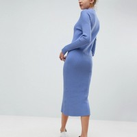Weekday Directional Rib Knit Midi Dress at asos.com
