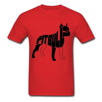 Pitbulls Typography Silhouette Graphic T-Shirt - Dog Lover Tee