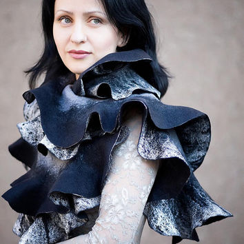 Handmade Nuno felted ruffle scarf shawl wrap Black and gray Hand Felted Super soft Eco-friendly