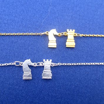 Knight and Rook Chess Piece Checkmate Charm Necklace