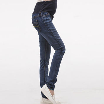 Maternity jeans spring and autumn 100% cotton belly pants trousers slim pencil pants legging high-elastic maternity clothes 2017