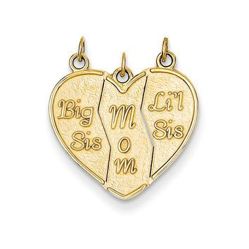 14k Yellow Gold Big Sis, Mom, Lil Sis Heart Three Piece Pendants, 18mm