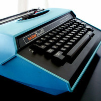 1970s Brother Typewriter Correct O Riter I Teal on by Retrofi