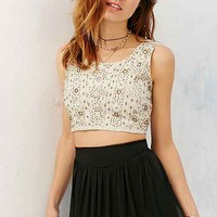 Raga Embellished Beaded Tank Top- Cream