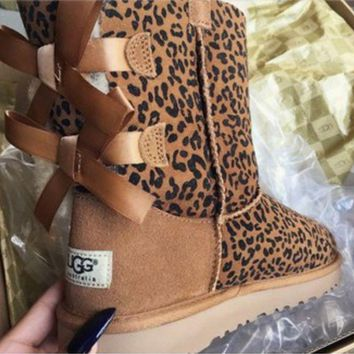 UGG Bow Leather Boots Shoes Half Boots Shoes