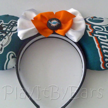 "Handmade ""Miami Dolphins"" Football Fan Mouse ears headband"